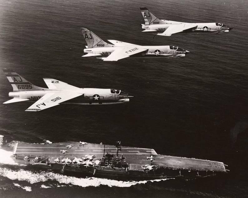 F 8 Crusaders Flying Over Uss Forrestal Cva 59 Cvg 8